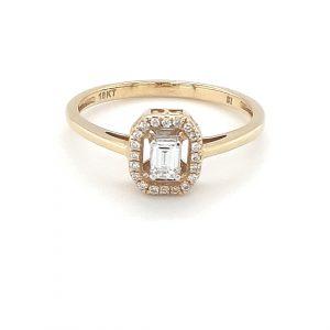 18K YELLOW GOLD EMERALD CUT DIAMOND RING_0