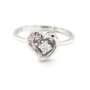 HANDMADE WHITE GOLD PINK DIAMOND RING_0