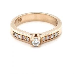 9K YELLOW GOLD DIAMOND RING WITH PINK DIAMONDS_0