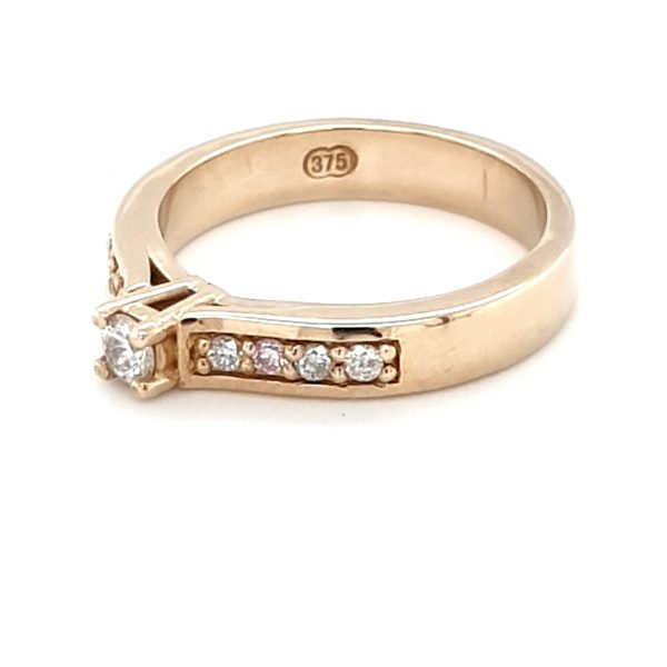 9K YELLOW GOLD DIAMOND RING WITH PINK DIAMONDS_1