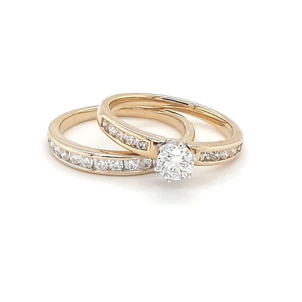 18K YELLOW GOLD DIAMOND WEDDING AND ENGAGEMENT RING SET_0