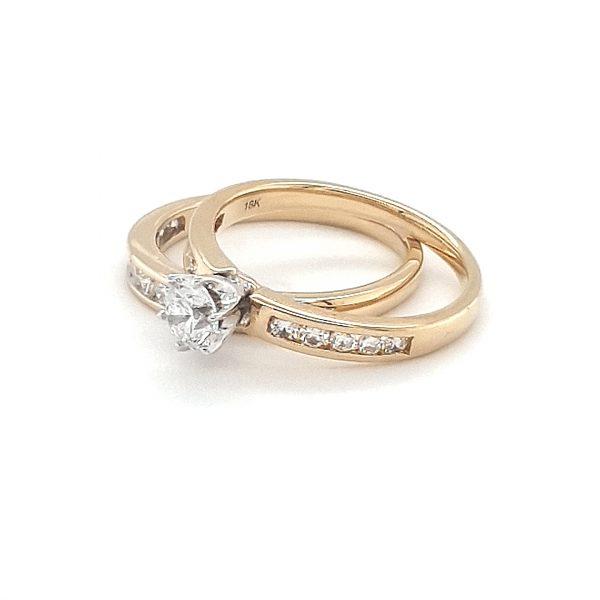 18K YELLOW GOLD DIAMOND WEDDING AND ENGAGEMENT RING SET_1