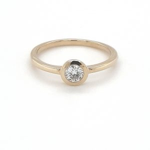 9K YELLOW GOLD SOLITAIRE RUBOVER SET RING_0