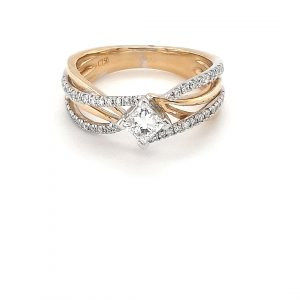 18K TWO-TONE WEAVE DIAMOND RING_0