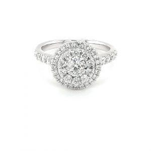 18K CLUSTER WHITE GOLD DIAMOND RING_0