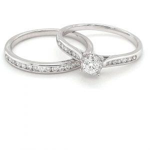 9K WHITE GOLD ENGAGEMENT AND WEDDING SET_0