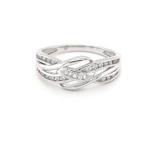9K WHITE GOLD SPLIT BAND DIAMOND RING_0