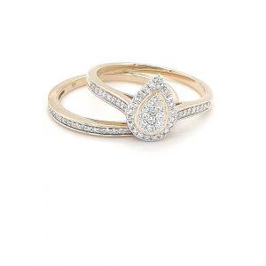 PEAR SHAPED WHITE DIAMOND ILLUSION WEDDING SET_0