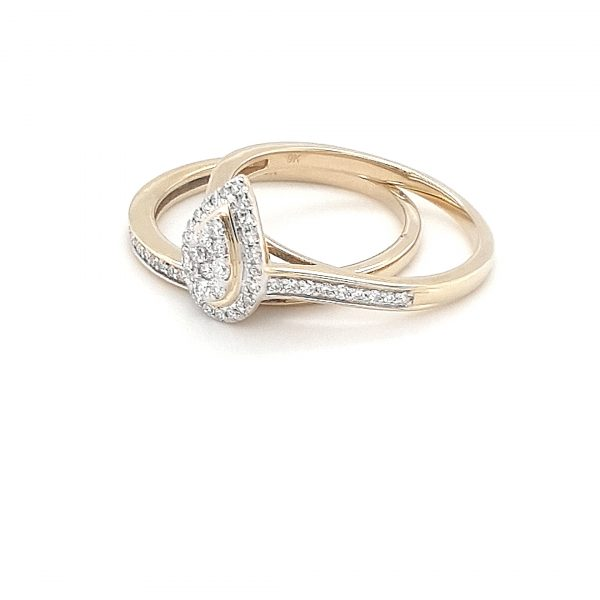 PEAR SHAPED WHITE DIAMOND ILLUSION WEDDING SET_1