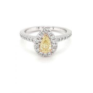 PEAR CUT FANCY YELLOW DIAMOND RING_0