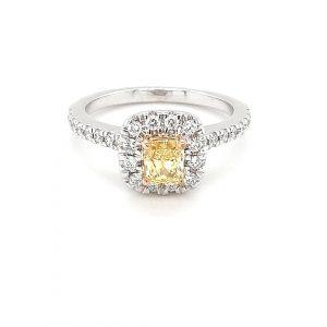 FANCY YELLOW PRINCESS CUT AND WHITE DIAMOND ENGAGMENT RING_0