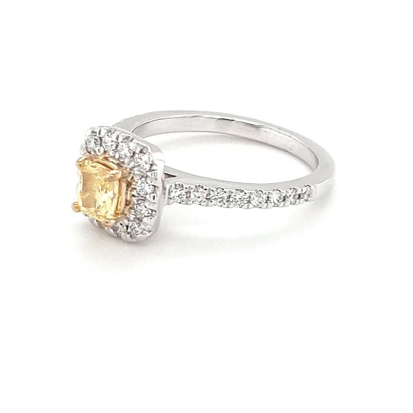 FANCY YELLOW PRINCESS CUT AND WHITE DIAMOND ENGAGMENT RING_1