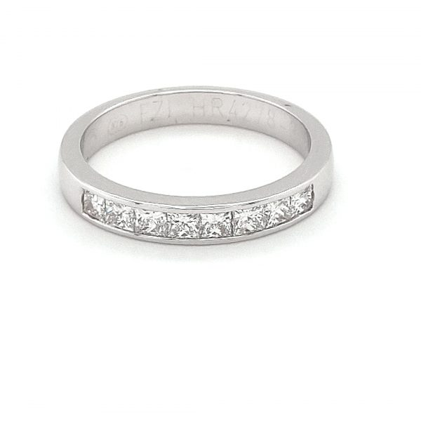 18K WHITE GOLD PRINCESS CUT DIAMOND WEDDING BAND_0