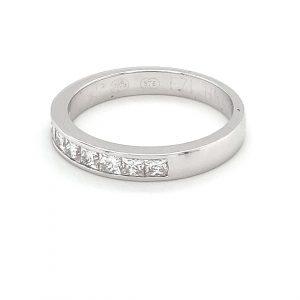 18K WHITE GOLD PRINCESS CUT DIAMOND WEDDING BAND_1