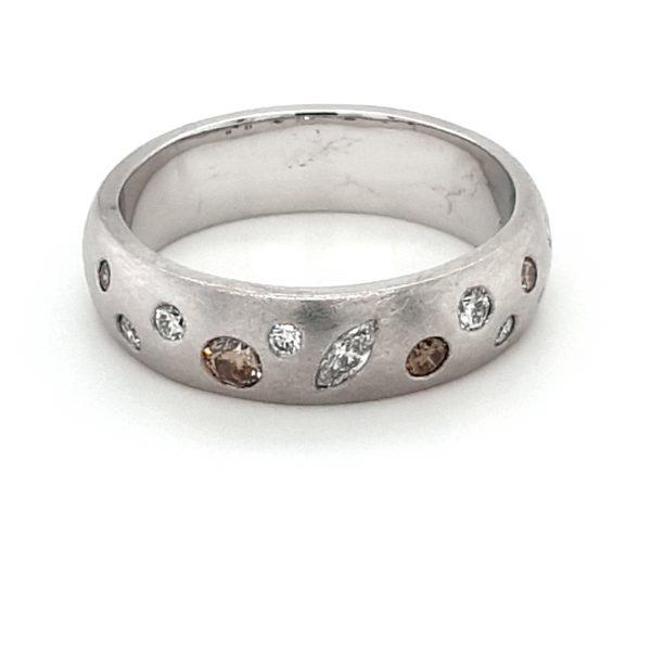 18K MATTE FINISH WHITE GOLD DIAMOND RING_0