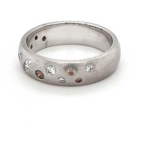 18K MATTE FINISH WHITE GOLD DIAMOND RING_1