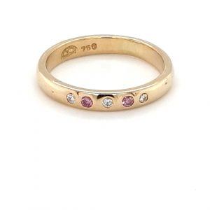 18K YELLOW GOLD HANDMADE PINK DIAMOND RING_0