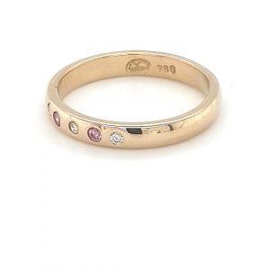 18K YELLOW GOLD HANDMADE PINK DIAMOND RING_1