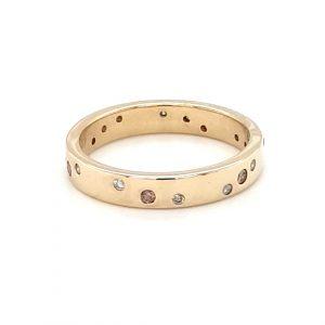 18K YELLOW GOLD FLUSH SET DIAMOND RING_0