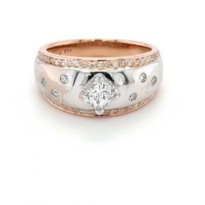 18K WHITE AND ROSE GOLD PRINCESS CUT DIAMOND RING_0