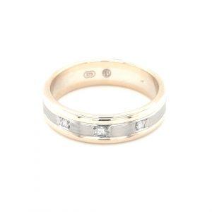 9K TWO-TONED MENS DIAMOND WEDDING RING_0