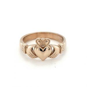9K YELLOW GOLD IRISH CLADDAGH RING_0