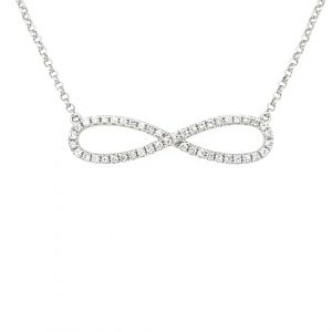9K WHITE GOLD SMALL INFINITY CHAIN AND PENDANT_0