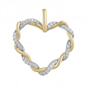 9K YELLOW GOLD DIAMOND HEART TWIST PENDANT_0