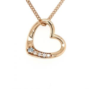 9K YELLOW GOLD AND BLUE TOPAZ HEART PENDANT_0