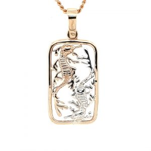 9K YELLOW GOLD AND STIRLING SILVER SEADRAGON PENDANT_0