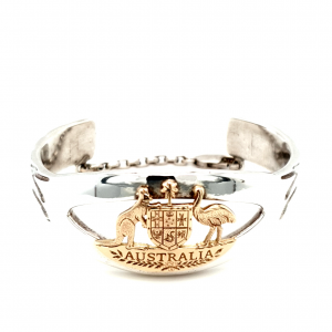 STIRLING SILVER AND YELLOW GOLD AUSTRALIA CUFF_0