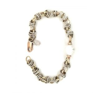 STIRLING SILVER AND 9K YELLOW GOLD BRACELET WITH BROOME PEARL_0