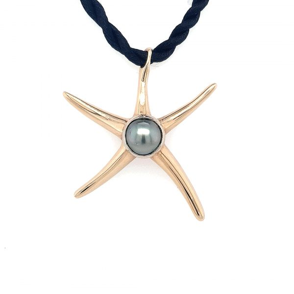 9K YELLOW GOLD STARFISH PENDANT WITH ABROHLOS PEARL_0