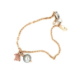 9K ROSE AND YELLOW GOLD ABROLHOS PEARL AND CHARM BRACELET_0