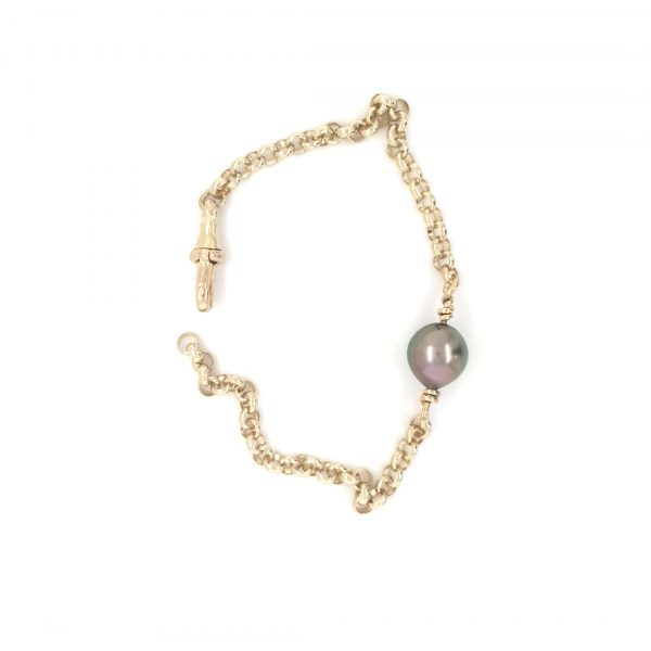 18K YELLOW GOLD ABROLHOS PEARL BRACELET 9MM SIZE PEARL 19CM LENGTH_0