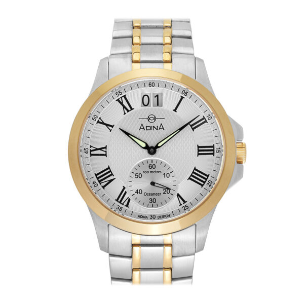 Very classy, is sure to come to mind when you lay eyes on the Adina Oceaneer Sports Dress Watch GW14 T1RB. The classic lines accentuate the 42mm case which features a sapphire crystal. This modern classic also features a big date and sub second hand. Of course the luxurious feeling of the solid bracelet rounds out what is sure to become an Adina Oceaneer stalwart._0