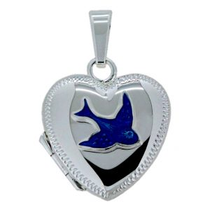 BLUE BIRD STIRLING SILVER HEART LOCEKT 3007BDA_0