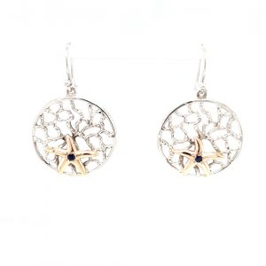 CORAL BAY STARFISH AND SAPPHIRE DROP EARRINGS_0
