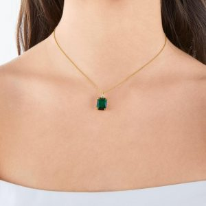GREEN STONE NECKLACE GOLD_1