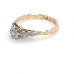 Leon Bakers Solitare 18K Yellow Gold Light Antique Style Engagement Ring_1