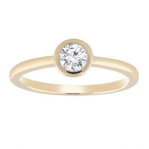 Leon Bakers 9K Yellow Gold 0.15ct Solitare Diamond Ring_0