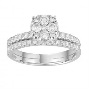 Royal Diamond 9k White Gold Engagement Ring Set_0