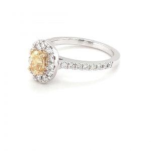 Leon Bakers 18k White Gold Yellow Diamond Ring_1
