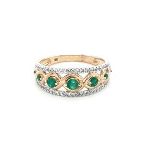 Leon Baker's 9K Yellow Gold Diamond and Emerald Ring_0