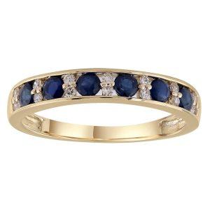 Royal Diamond 9K Yellow Gold Sapphire and Diamond Ring_0