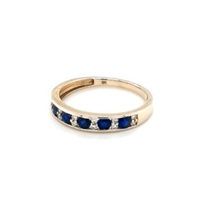 Royal Diamond 9K Yellow Gold Sapphire and Diamond Ring_1