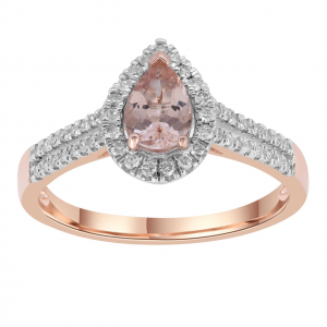 Royal Diamond 9k Rose Gold DIamond and Morganite Ring_0