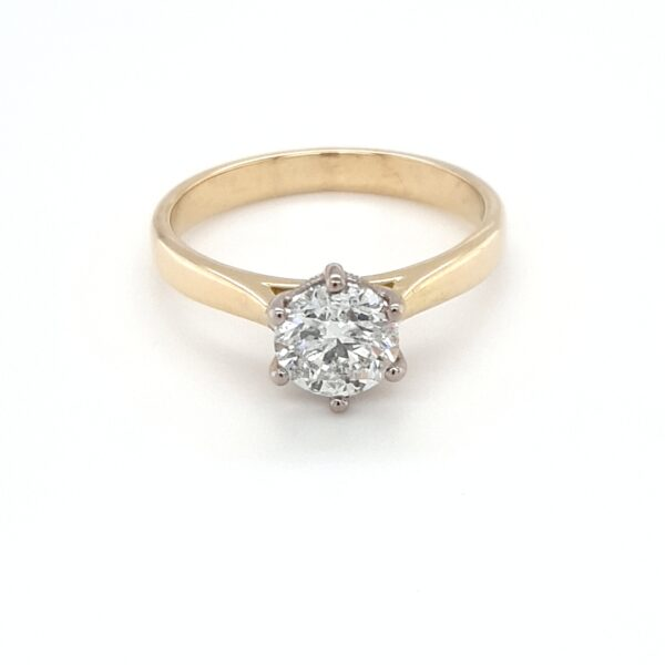 18K WHITE AND YELLOW GOLD SOLITAIRE ENGAGEMENT RING_0