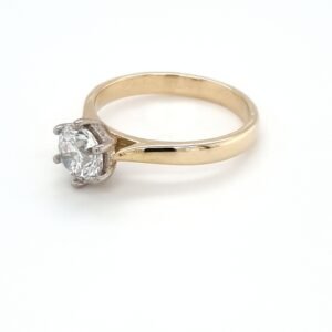 18K WHITE AND YELLOW GOLD SOLITAIRE ENGAGEMENT RING_1