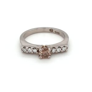 18K WHITE GOLD AND CHAMPAGNE DIAMOND ENGAGEMENT RING_0